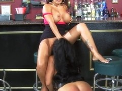 Kiara Mia and Nina Mercedez licking in a bar