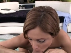 Szilvia Lauren slurps cock prior to fucking