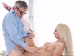 Sensual college girl is tempted and penetrated by her older mentor
