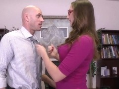 Paige Turnah fucks with her boyfriend Johnny Sins at her chief's table