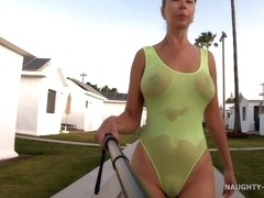My Transparent When Wet One Piece Swimwear In Public Pool with Naughty Lada