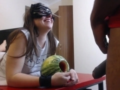 Blowjob and melon fucking. 1 guy 1 girl and a melon.