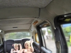 Blonde lesbians oral sex in fake taxi
