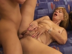 MomsWithBoys - Mature Blonde Granny Enjoys Young Cock