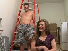 Candace Cage fucked in the mouth during the cleaning up the wardrobe laundry room