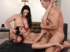 Ramon Nomar, Gianna Dior And Angela White - Playful Brunette Bisexual Babes Jump On One Erected Di.