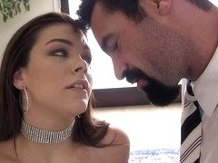 Smiling brunette with big tits, Kimber Woods got a massive cock in her ass, because she needed that