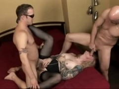 Tattooed daddy t-girl In trio