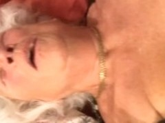 77 yo white haired granny getting fucked.