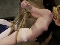 Nicki is bound, suspended, manhandled, abused, humiliated, made to cum like a common whore