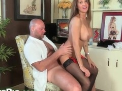 Passionate secretary with big milk jugs is giving blowjobs to her boss and riding his cock