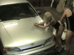 Candid girl bent over the car and hardly penetrated from behind