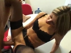 Hot secretary fucks with her French boss in the office