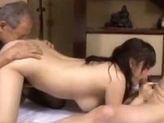 Horny Japanese girl Azusa Nagasawa in Amazing Threesomes, Handjobs JAV video