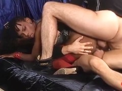 leather fuck, 2 guys, one gf