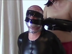 My bondage sissy (Wrapped face and plastic bag)
