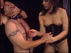 Mistresses punishing man