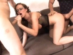 MILF Cindy Dollar takes on two dicks at once