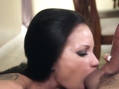 1000Facials Tattoo girl Raven Bay's mouth full of cum