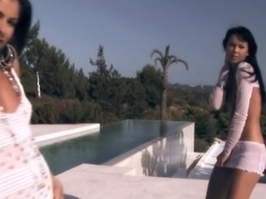 Fabulous pornstars Susie Diamond and Lucy Belle in incredible brazilian, outdoor adult video