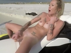 Beautiful Blonde Toying Her Pussy On A Jet Ski