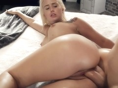 Slutty, blonde cheerleader, Layla Love is too busy fucking a handsome man to have a rehearsal