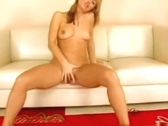 Hot Girl With Nice Titties Strips Down On The Couch