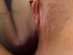 Stunning Amy Ried massages her big boobs and pleases her aching pussy