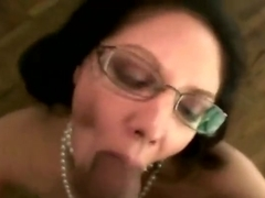 Mature milf in spex giving hot blowjob and loves it