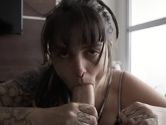 Slutty Girl blows a Big Cock and takes a Creampie