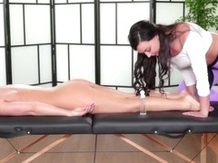 Sexy Masseuse Whitney licks her clients juicy pussy