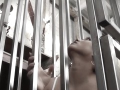 Caged asian sub throatfucked by her master