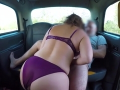 Spanish brunette with a big, round ass, Montse Swinger got fucked in the back of a taxi