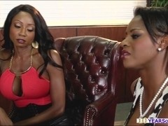 Two ebony girls squirts as they probe their holes with toy and big dick