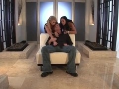 Audrey Bitoni and blonde playmate reamed deep