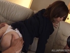 Naughty Asian mature babe Sayuri Kinsei gets hard DP