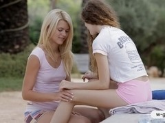 Two teens Vanessa and Izzy Delphine lesbosex outdoor