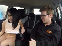 Asian Driving Student Flashing Pussy