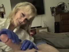 1st TIME MOM JERKS SON OFF W/ LATEX GLOVES & OIL BLOW JOB SWALLOW