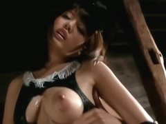 Japanese cosplay girl masturbated from behind