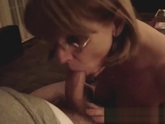 Mrs Commish sucks cock in glasses