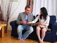 TrickyOldTeacher - Lazy brunette student sucks teachers cock and gets facial of cum