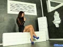 Asian Marcia Hase gives footjob to gloryhole cock