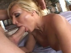 Blonde woman with sexy tits and her new lover