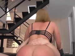 Blonde babe likes to ride his staff