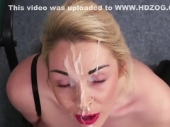 Horny doll gets cum shot on her face eating all the jizm