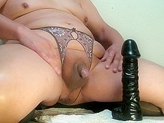 Prostate milking with black big fake penis Feb-07-2015