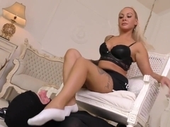 Blonde Girl with White Ped Socks - Smelly Workout !