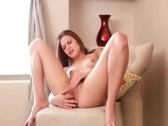 Redhead has yoga time and masturbation time