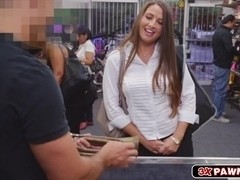 Busty MILF sucks cock and gets cum facial at the pawn shop